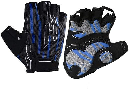 Guantes de trabajo Guantes de ciclismo Guantes de bicicleta de montaña Guantes de ciclismo de carretera de medio dedo para hombres y mujeres, 1 par (Color : Blue, Size : S): Amazon.es: