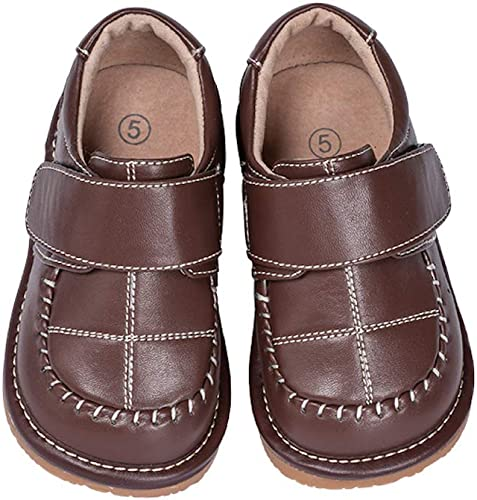 Boy/'s Leather Toddler Brown Dress Squeaky Shoes Sizes 1 to 7 w//Free Stoppers