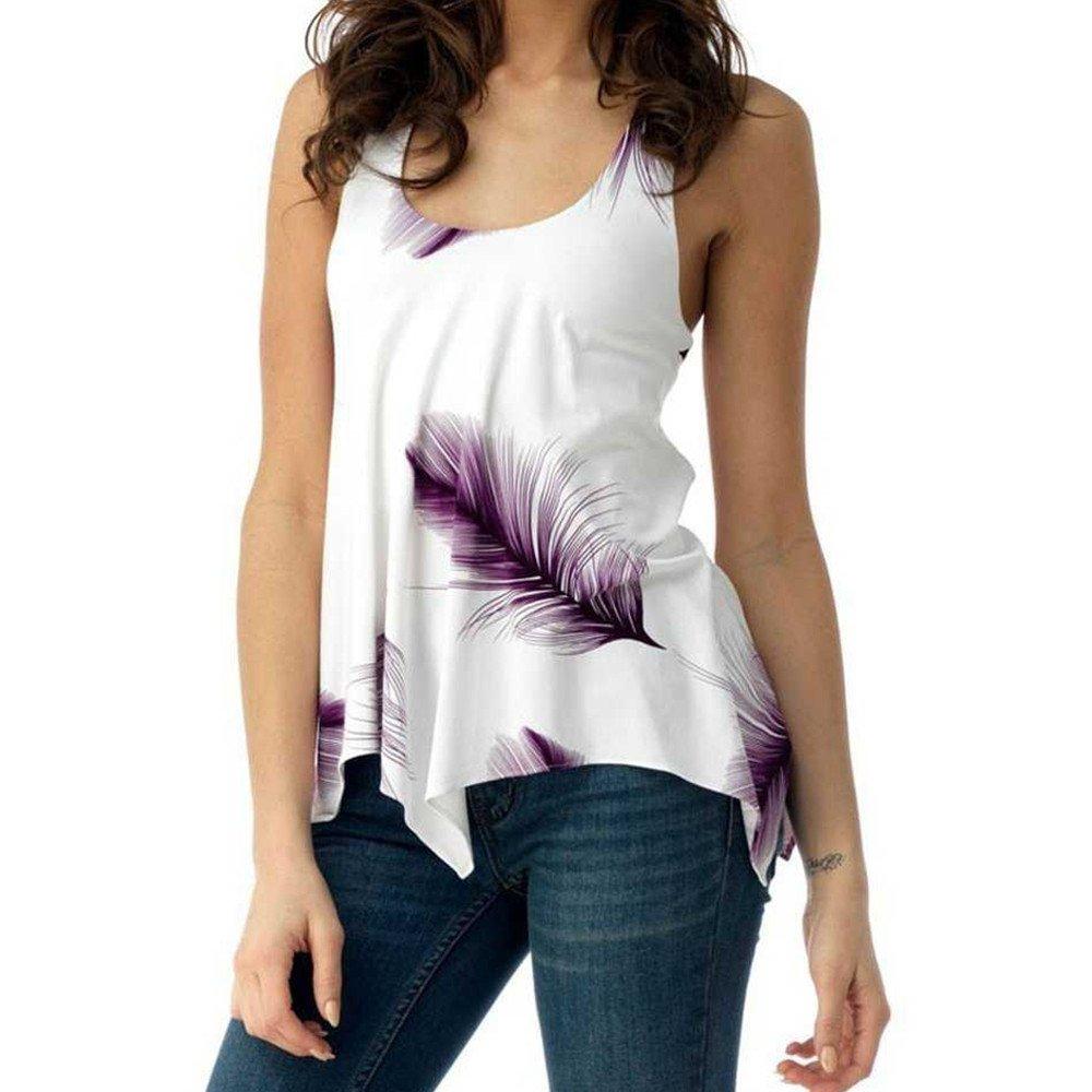 Fudule Women Sleeveless Shirts Print Tank Tops Camisole Fashion Ladies Vest Bandage Tanks Casual Blouses Plus Size Tops Purple