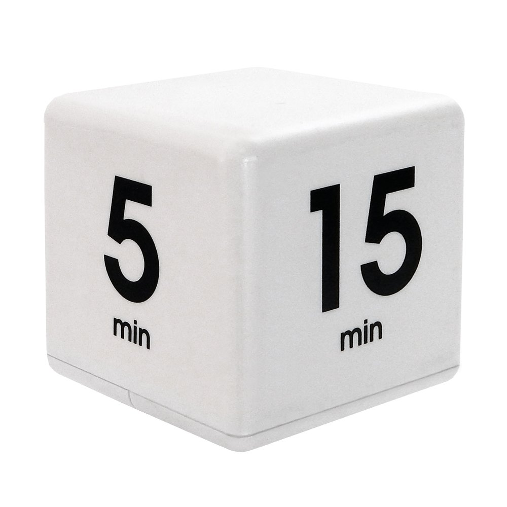 The Miracle TimeCube Timer, 5, 15, 30 and 60 Minutes, for Time Management, Kitchen Timer, Kids Timer, Workout Timer, White