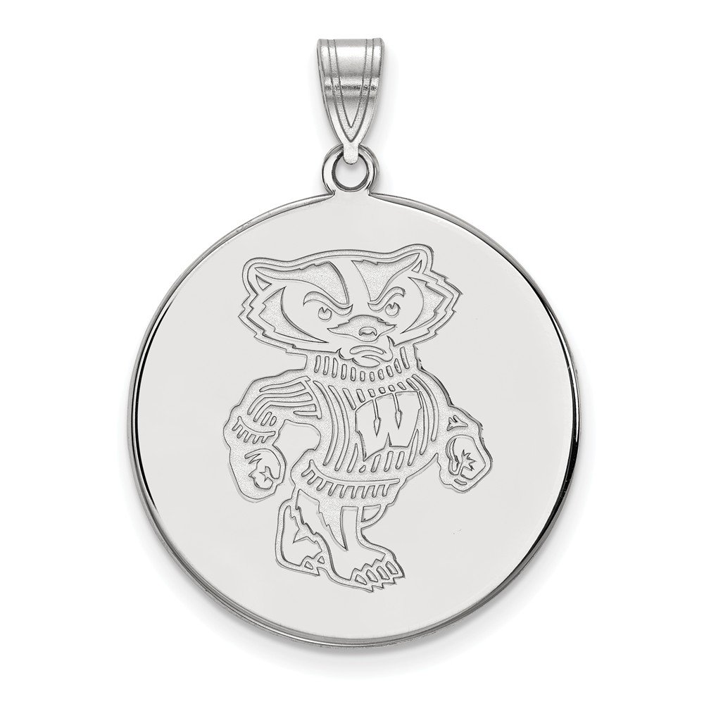 Collegiate University of Wisconsin Sterling Silver LogoArt University of Wisconsin XL Disc Pendant