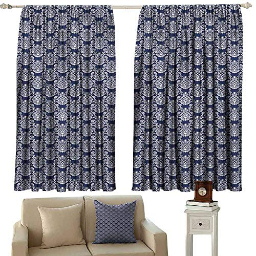 - Novel Curtains Navy Blue Abstract Floral Damask with Antique Victorian Design Renaissance Flourish Blackout Draperies for Bedroom Living Room W55 xL63 Dark Blue Bayberry