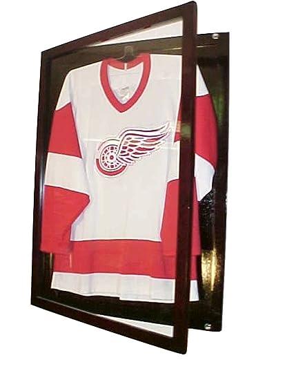 b19628b2e96 Amazon.com : Small Cherry Jersey Display Case Football Basketball Hockey  Baseball Jersey Display Case Shadow Box Frame, 98% Uv Protection Door, ...