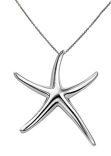 Amazon starfish pendant necklace sterling silver 925 designer starfish pendant necklace sterling silver 925 designer style 16quot 18quot aloadofball Choice Image