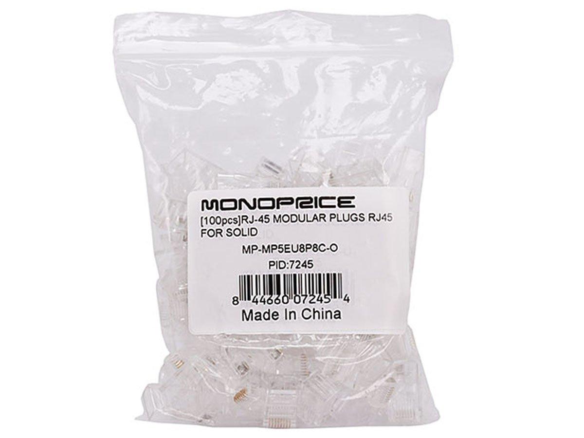 Monoprice Conectores RJ45 modulares RJ-45. Paquete de 100 unidades para OEM sólido: Amazon.es: Electrónica