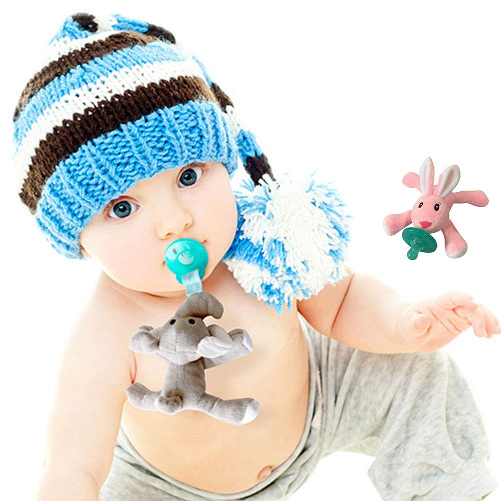Isuper Chupete con Peluche para beb/é,Juquete de mu/ñeca infantil con Chupete de Silicona sin BPA forma de conejo animado para ni/ños Rosa