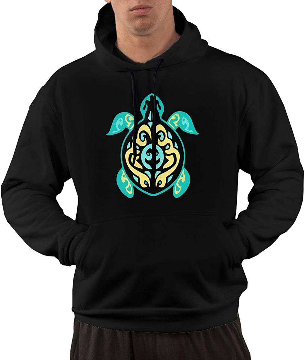 Mens Pullover Hoodie Fleece with Pockets Tribal Turtle