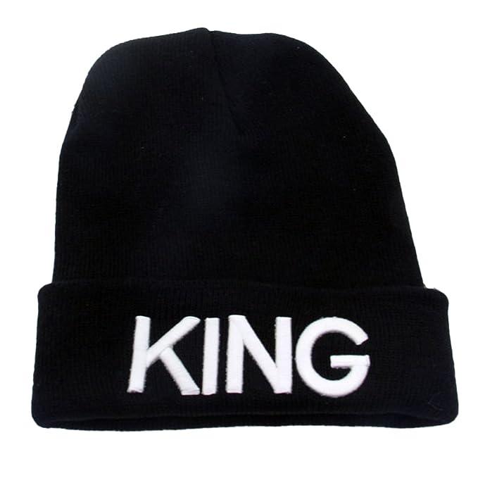 ShallGood Inverno Amanti Ricamo King Queen Cappello A Maglia Ispessito  Caldo Uomo Donna Moda Beanie Invernale Cappelli King-Bianco One Size   Amazon.it  ... 2f42fd5b3bee