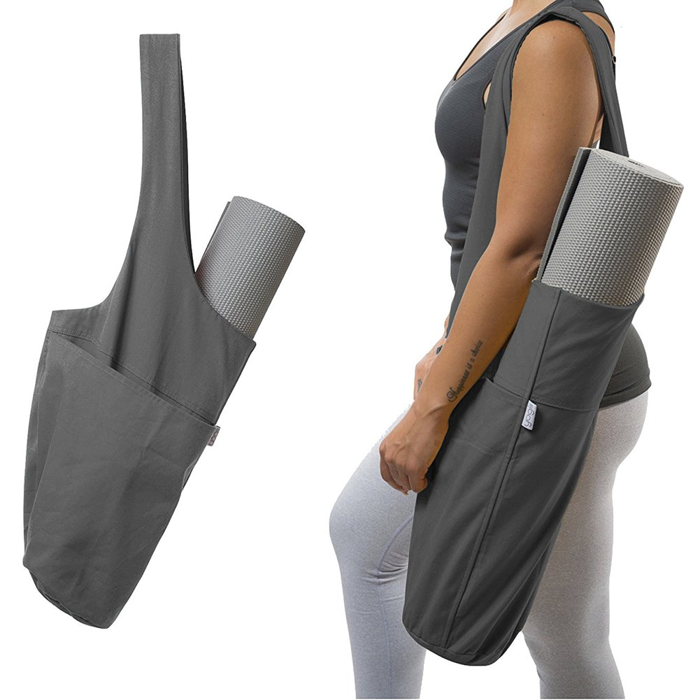 Agyvvt Yoga Mat Bag Yoga Mat Tote Sling Carrier with Large Side Pocket & Zipper Pocket