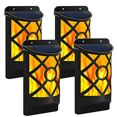 Solar Flame Lights Outdoor, Flickering Flame Wall Lights Outdoor Solar Spotlights Landscape Decoration Lighting Dusk to Dawn Auto On/Off 66 LEDWaterproof Solar Powered Wall Lights Garden (4 Pack) : Garden & Outdoor