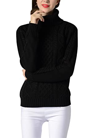 74013c15630f Sophieer Ladies Casual Knitted High Neck Ribbed Cuffs and Hem Jumper Shirt  Black S