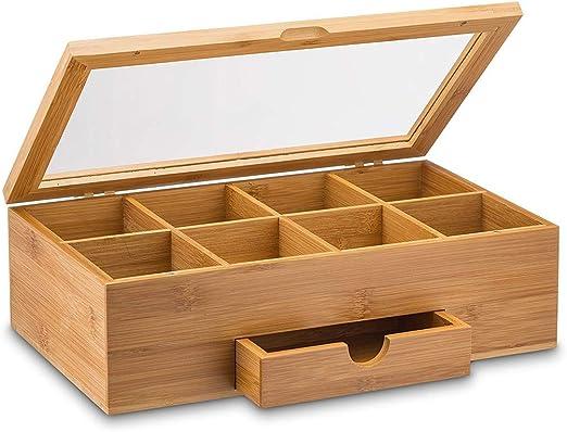 Tinaa - Caja de té de Madera con Compartimentos para Guardar y organizar Bolsas de té: Amazon.es: Hogar