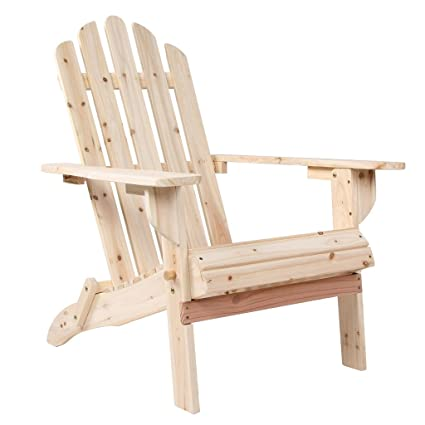 VH FURNITURE Outdoor Foldable Wood Adirondack Lounge Chair Patio Deck  Garden Furniture, Natural
