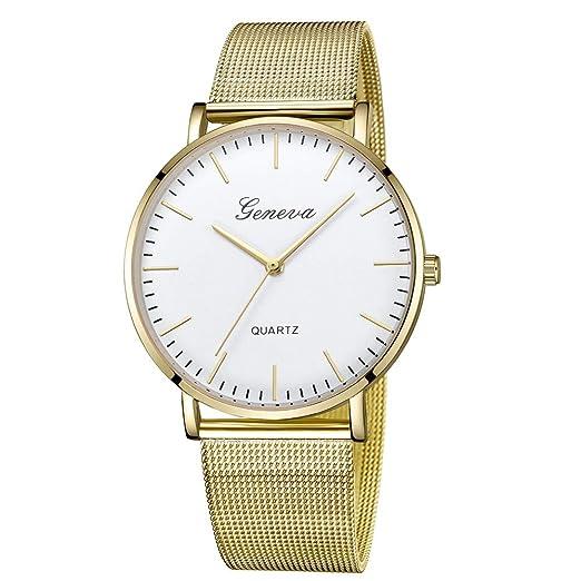 Modaworld Relojes Mujer Moda Reloj de Pulsera clásico para Mujer de Cuarzo y Acero Inoxidable Reloj Analogico para Unisex Mujer Hombre de Cuarzo: Amazon.es: ...
