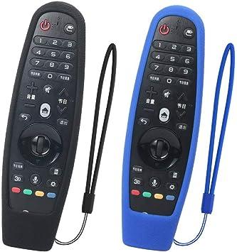 SIKAI 2-Pack Funda Protectora Compatible con LG Smart TV Mando a Distancia AN-MR600 / AN-MR650 / AN-MR650A / AN-MR18BA Magic Remote Carcasa de Silicona Resistente a Prueba de Golpes (Negro-Azul): Amazon.es: Electrónica