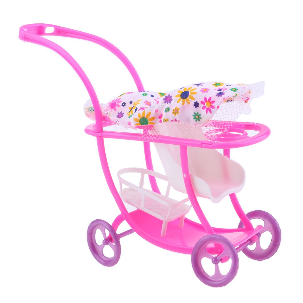 Homyl New Style Lovely Dolls Trolley Car Mini Push Cart With Visor Board For Barbie Dolls Outdoor Activities