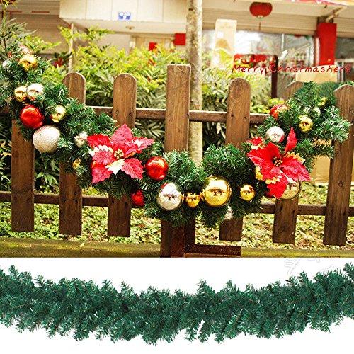 cherry Juilt 9 Feet 2 Pcs Christmas Garland Decorations Outdoor Indoor Artificial Pine Wreath Xmas Decorations for Wall Door Stairs by cherry Juilt (Image #2)