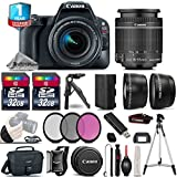 Canon EOS Rebel SL2 DSLR Camera + Canon 18-55mm IS STM Lens + UV-CPL-FLD Filters + 2.2x Telephoto Lens + 0.43X Wide Angle Lens + 32GB Class 10 Memory Card + Table-Top-Tripod - International Version