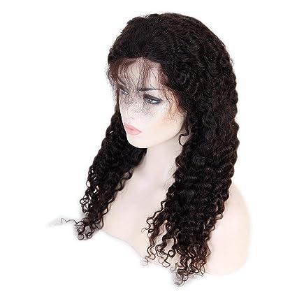 Lucas peluca cabello humano ondulado Remy Vergini brasiliani Lace Front Wig Deep Wave apelli humano peluca delantera encaje 130% densita 18inch/45CM 1# ...