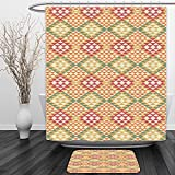 Vipsung Shower Curtain And Ground MatNative American Decor Collection Colorful Geometric Ethnic Aztec Patterns South Mexican Traditional Folk Art Print MultiShower Curtain Set with Bath Mats Rugs