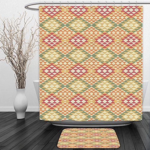 Vipsung Shower Curtain And Ground MatNative American Decor Collection Colorful Geometric Ethnic Aztec Patterns South Mexican Traditional Folk Art Print MultiShower Curtain Set with Bath Mats Rugs by vipsung