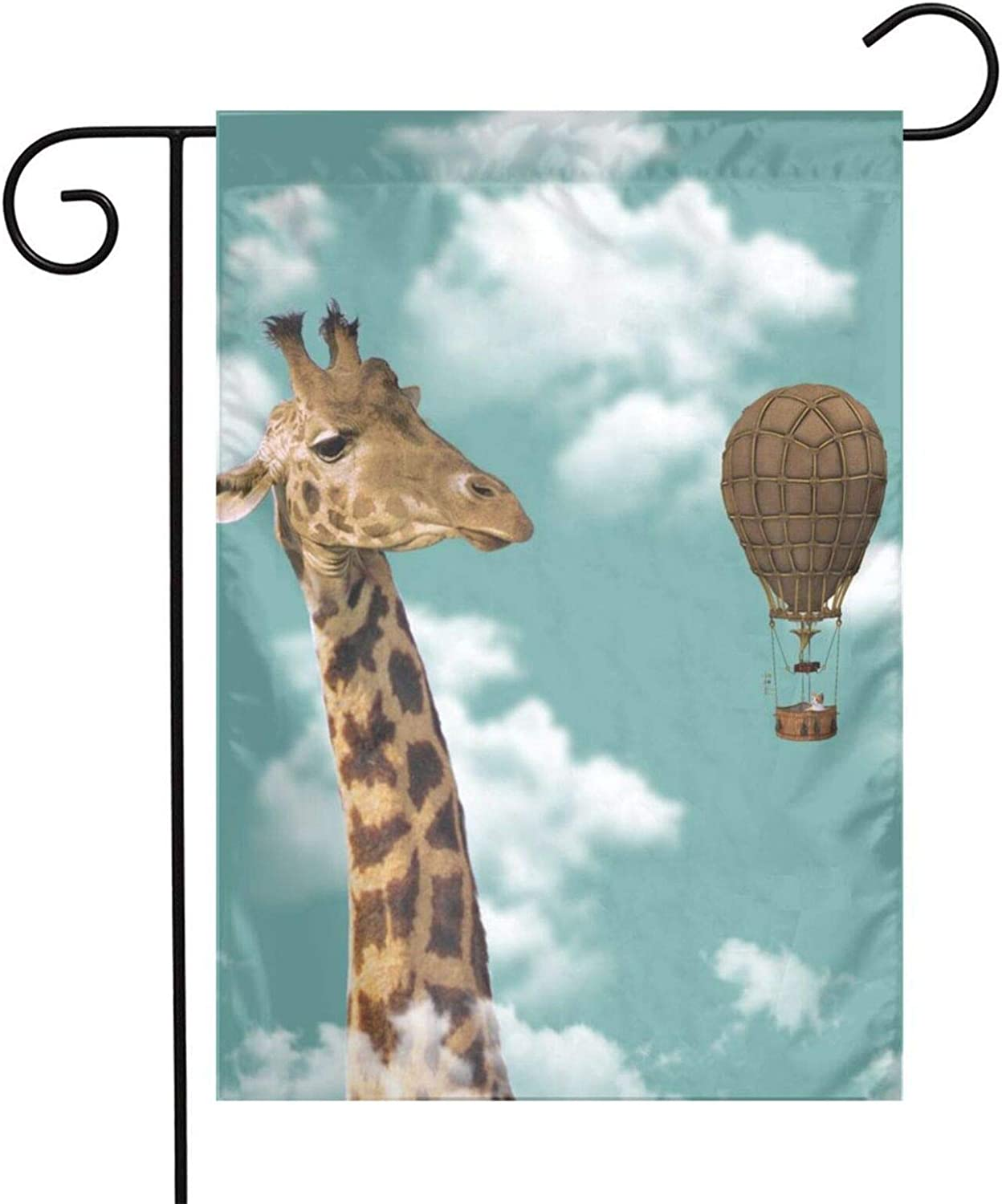 pengyong Garden Flags Giraffe Hot Air Balloon Yard Flag Decorative for Outdoor,Welcome Home Holiday Double Sided 12x18 Inch