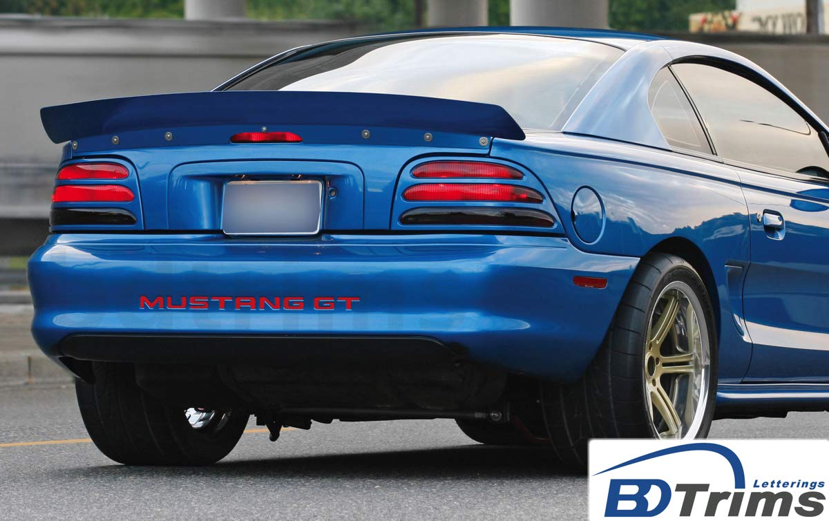 Glossy Black BDTrims Bumper Plastic Letters Inserts fits 1994-1998 Mustang GT Models
