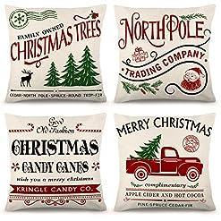 Christmas Farmhouse Home Decor ZJHAI Christmas Pillow Covers 20×20 Inch Set of 4 Farmhouse Pillow Covers Holiday Rustic Linen Pillow Case for Sofa… farmhouse christmas pillow covers