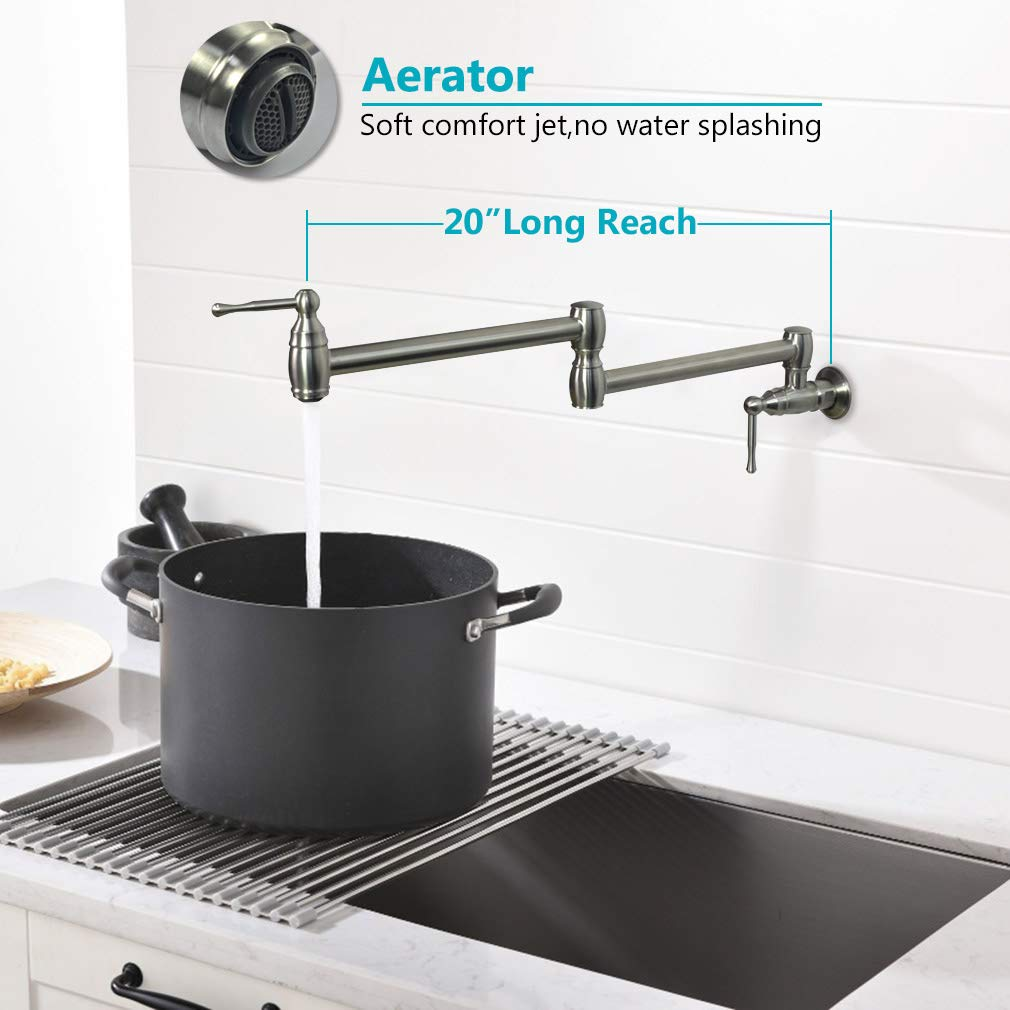 PHASAT Pot Filler Faucet Folding Joints Wall Mount Kitchen Sink Taps,Double Handle Stretchable 360 Degree Swivel Arm,Brushed Nickel Stainless Steel 91211N