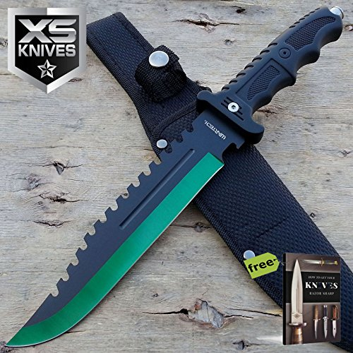 """13"""" CSGO Green Tactical Survival Rambo Army Bowie Blade Back Sawback Carbon Steel Sharp Tactical Fixed Blade Knife + Free eBook by SURVIVAL STEEL"""