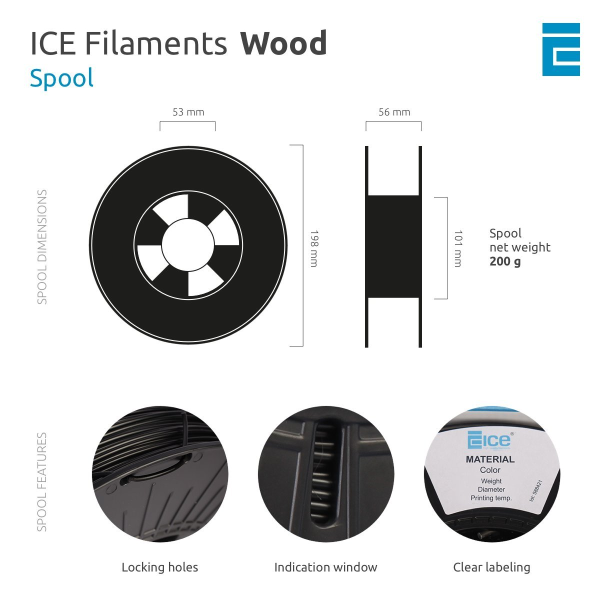 0.5 kg Marvelous Maple ICE Filaments ICEFIL3WOO209 filamento WOOD,2.85mm