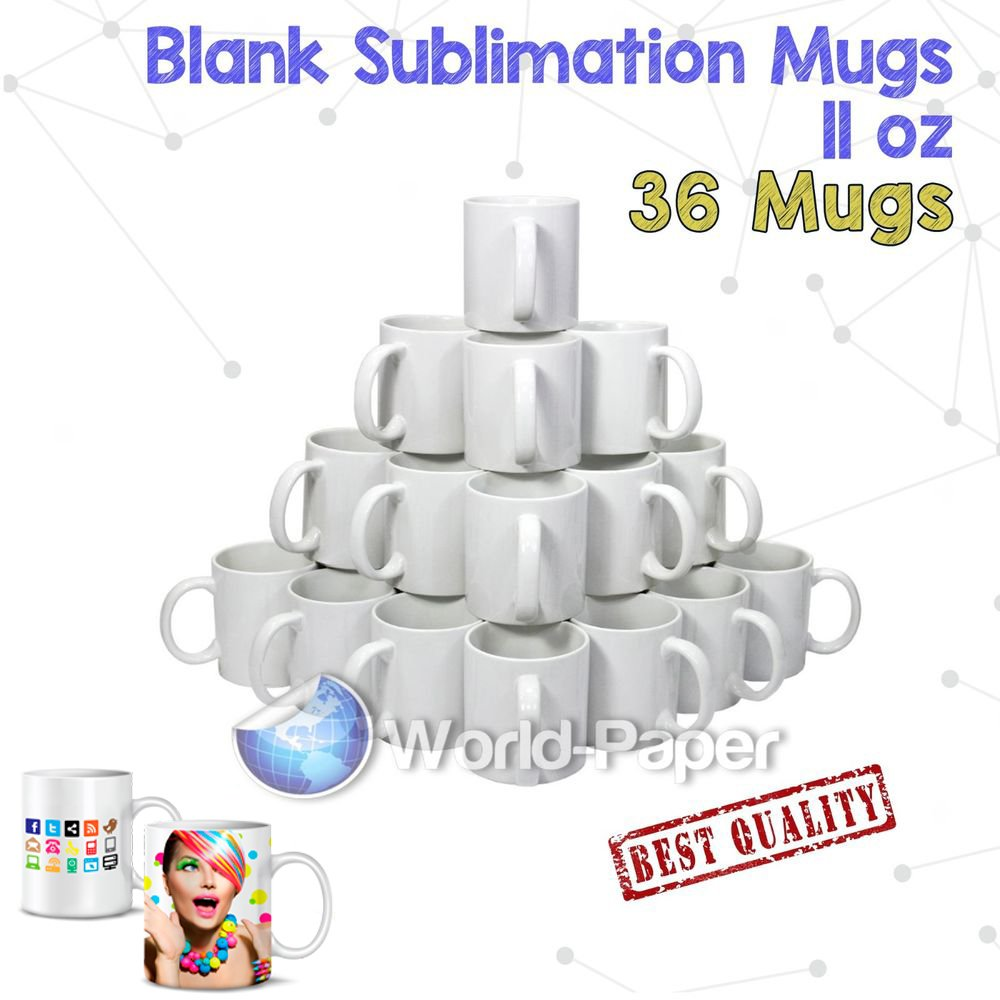 36X Blank Coffee Mug Cup Heat Press Sublimation Printing by world-paper