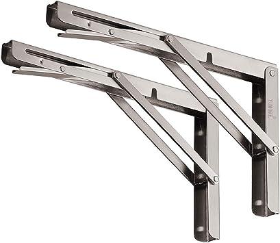 2PCS Chrome Steel Folding Shelf Bench Table Fold Shelf Bracket Max.Load:330lb US