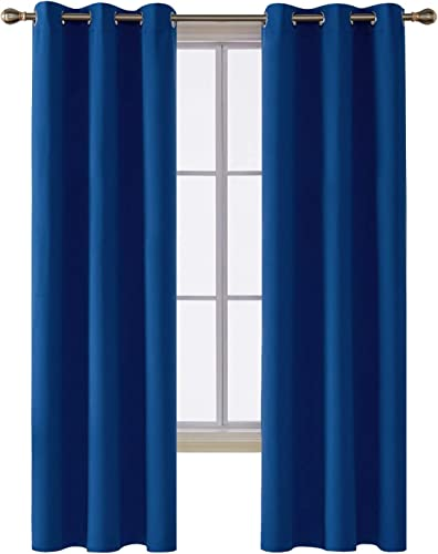 Deconovo Thermal Insulated Room Darkening Grommet Curtain Panel for Bedroom, 42×95 Inch, Royal Blue