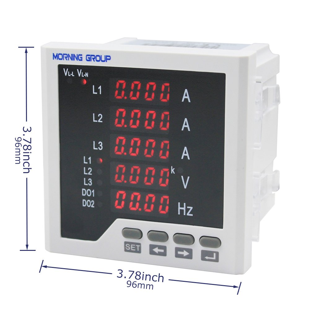 Morning Group 3 Phase LED Digital Display Multifunction Current Voltage Frequency Meter(Three Phase (Panel Size:3.78 3.78in)) by Morning Group (Image #2)