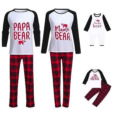 92d8c9b06d HLHN Matching Family Pajamas Christmas Letter Outfits Sleepwear Clothes Set  Tops + Pants Plaid PJS Parent