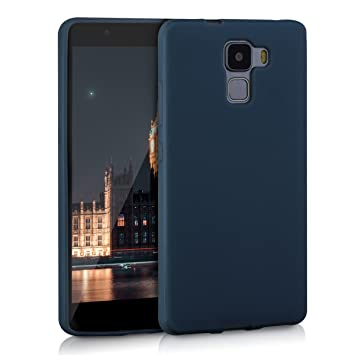 kwmobile Funda compatible con Huawei Honor 7 / Honor 7 Premium - Carcasa de TPU silicona - Protector trasero en azul oscuro mate
