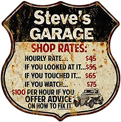 Steve/'s Garage Shop Rates Personalized Gift Shield Metal Sign 211110019077