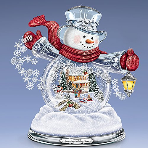 Thomas Kinkade Snowglobe Snowman with Lighted Scene Plays 8 Holiday Carols by The Bradford Exchange by Bradford Exchange (Image #4)