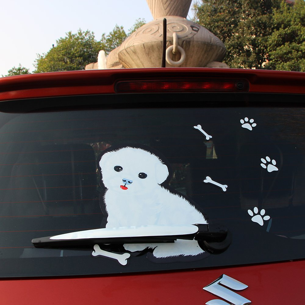 Amazon com best 3d car moving tail decal cute white dog auto stickers reflective car styling rear wiper decals animal stickers 2722 5cm automotive