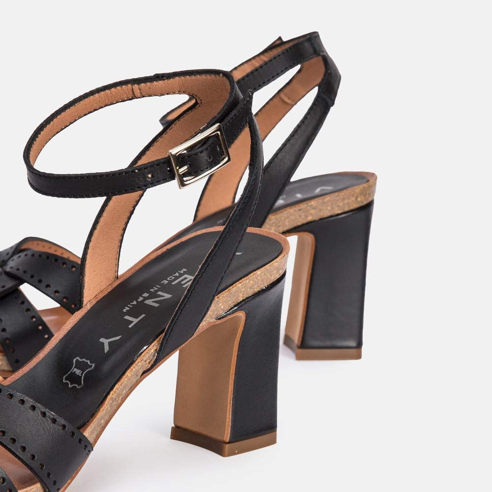 Sandal heel Leather Black Santorini Black