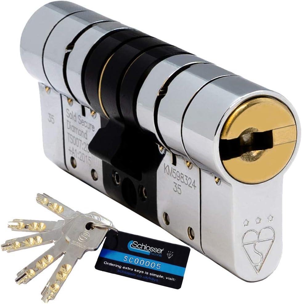 Cilindro europeo de alta seguridad 5 llaves Schlosser Technik TS007