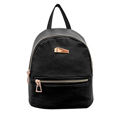 4b366547094e Image Unavailable. Image not available for. Color  Solid Color Shoulder Bag  with Black Zipper Cloth   Golden Zipper PU Leather Mini Backpack Casual