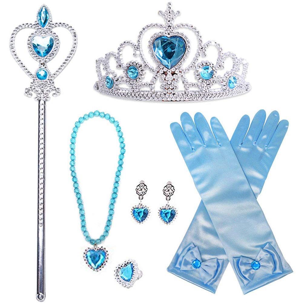 Amor Elsa Costume 8Pcs Princess Dress Up Cosplay Party Accessories with Crown Wand Gloves Necklace Earrings & Ring Amor Present