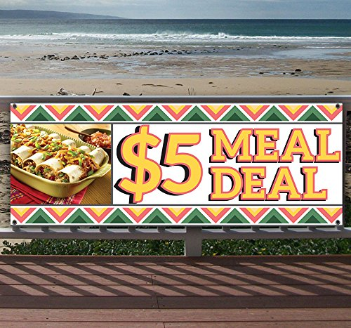 5 Dollar Meal Deal Mexican 13 oz Heavy Duty Vinyl Banner with Grommets