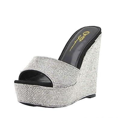 99551a258f03 Women s Fashion Wedge Embellished Rhinestone Covered One Band Platform  Casual Heel Sandal Shoes (5.5
