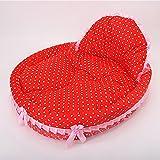 Warm Pet Mat Dot/Heart Pattern Printed Cat Kitty Dog Princess Puppy Ultra-soft Sponge Filling Blanket Bed Cushion