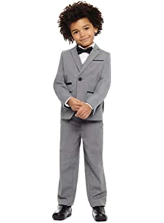 BOZEVON Boys Suit-2 Piece Black Classic Suit Wedding Page Boy Outfit 3-8 Years