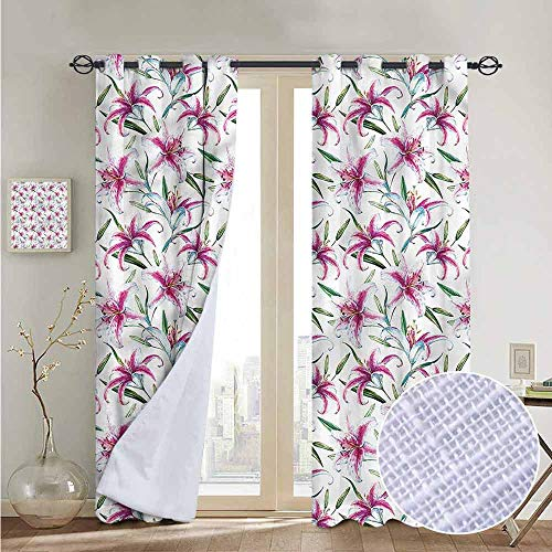 NUOMANAN Living Room Curtains Flower,Vivid Wild Lily Flora,Adjustable Tie Up Shade Rod Pocket Curtain ()