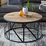 Antique Drum Coffee Table Round Metal and Wood Drum Shaped Coffee Table Table Coffee Top Vintage Style Antique Svitlife